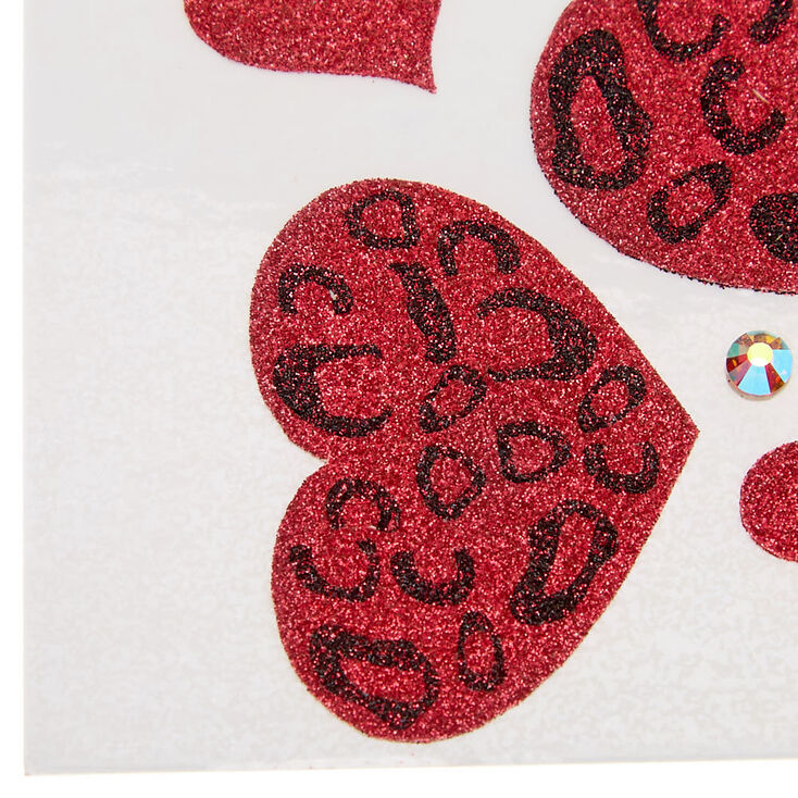 Glitter Leopard Hearts Body Stickers - Red,