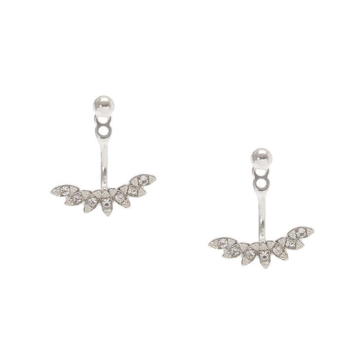 Silver tone & Faux Crystal Fanned Front & Back Ear Jacket Earrings,
