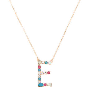 Embellished Long Initial Pendant Necklace - E,