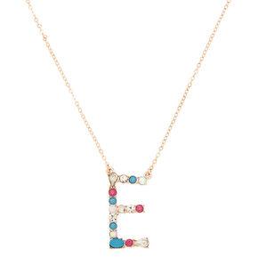 Embellished Long Initial Pendant Necklace - E,