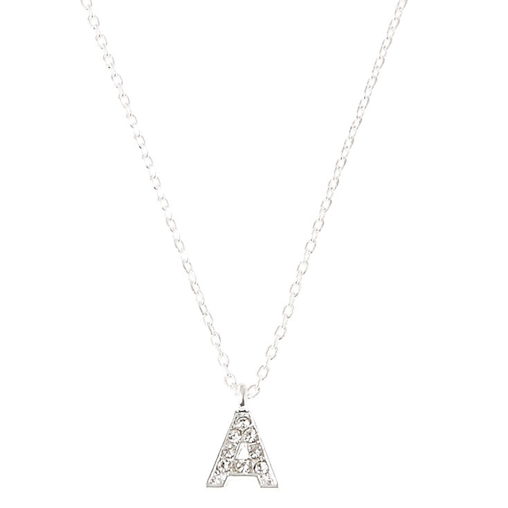 Silver Embellished Initial Pendant Necklace - A,