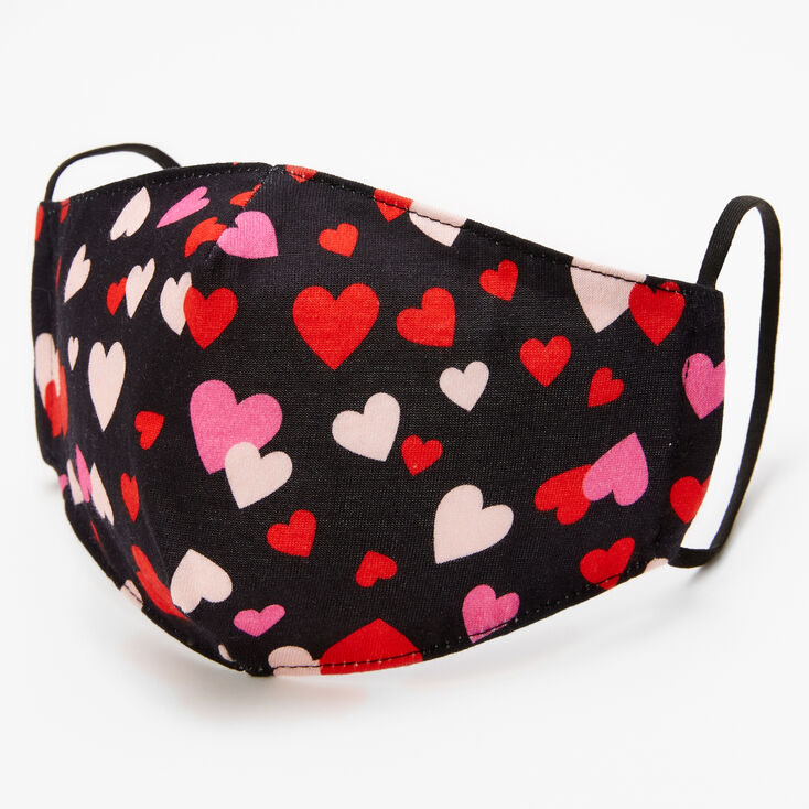 Cotton Scatter Print Hearts Face Mask - Adult,