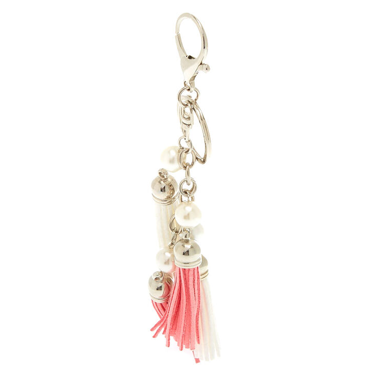 Pink and White Tassel Keychain,