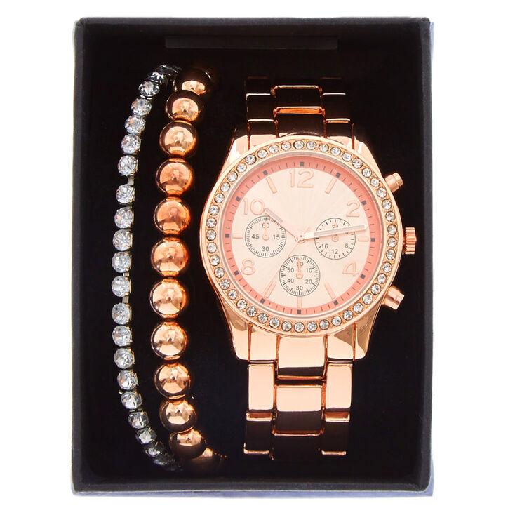 Rose Gold Boyfriend Watch Bracelet Set,
