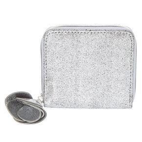 Small Metallic Flower Zip Wallet - Gunmetal,