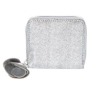Small Metallic Flower Zip Wallet - Gunmetal,