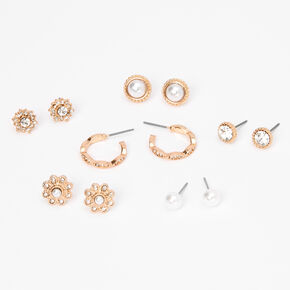 Rose Gold Fancy Crystal Pearl Stud Earrings - 6 Pack,
