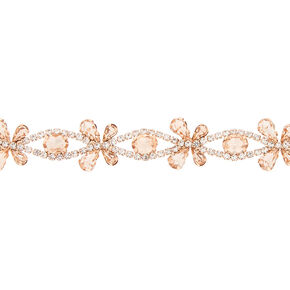 Rose Gold Rhinestone Butterfly Choker Necklace,