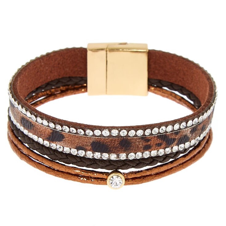 Leopard Wrap Bracelet - Brown,