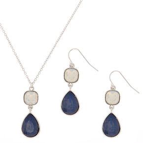 Silver Teardrop Jewelry Set - Blue, 2 Pack,