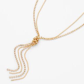 Gold Beaded Rhinestone Y-Neck Pendant Necklace,