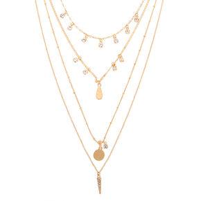 Gold Boho Crystal Multi Strand Necklace,