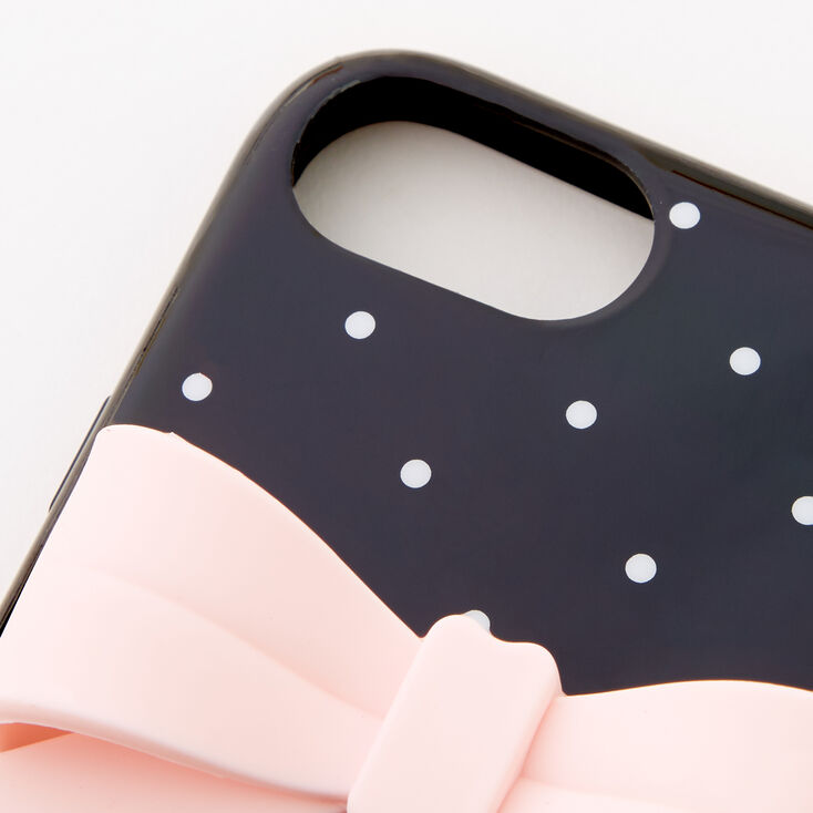 Polka Dot Protective Phone Case with Pearl Lanyard - Fits iPhone 6/7/8/SE,
