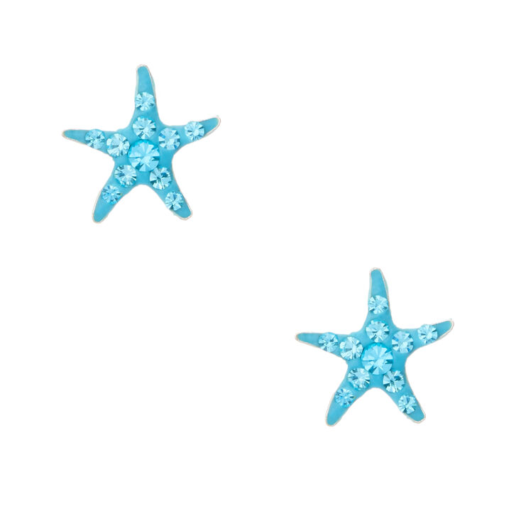 Sterling Silver Crystal Starfish Stud Earrings,