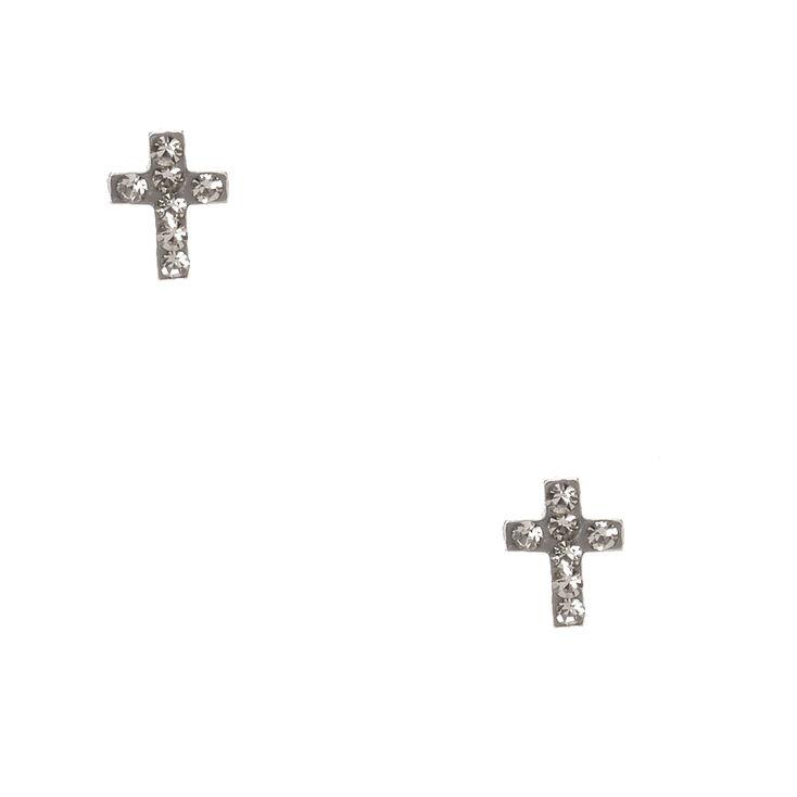925 Sterling Silver Hematite Cross Earrings,