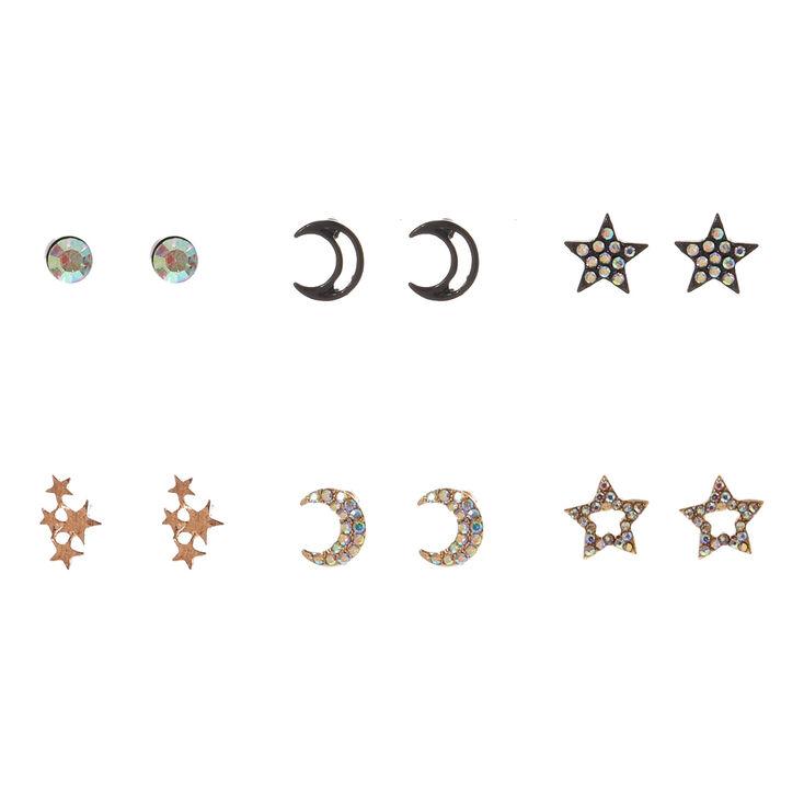 Moon & Star Stud Earrings,