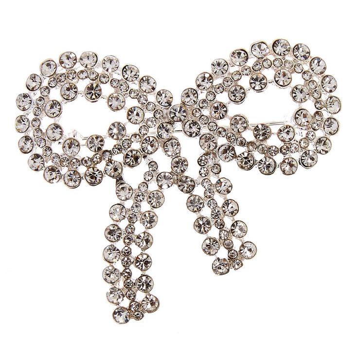 Faux Crystal Bow Pin,