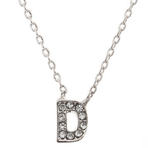 """Silver Studded """"D"""" Initial Necklace,"""