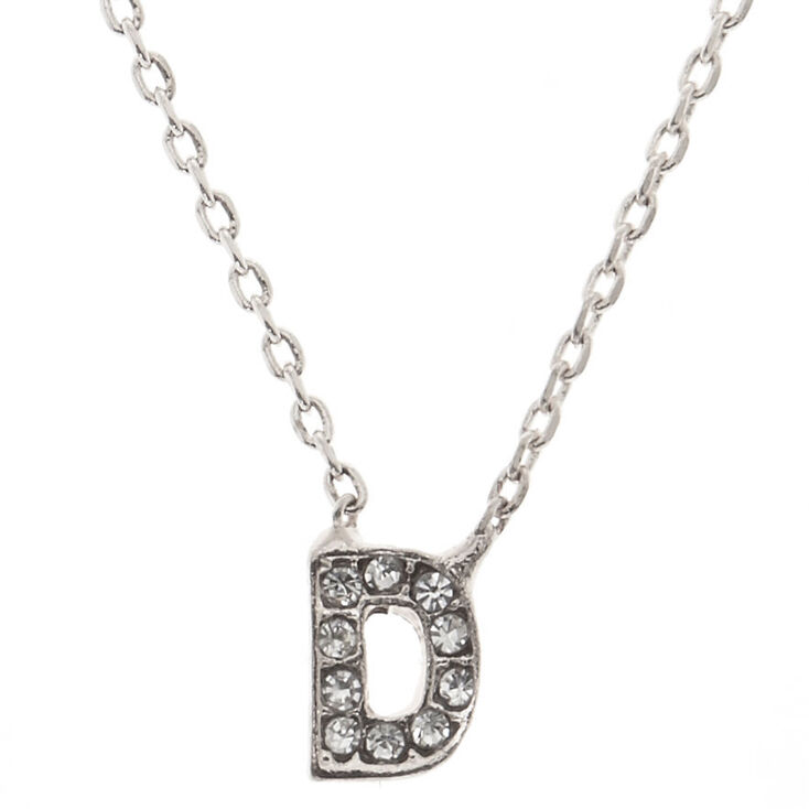 "Silver Studded ""D"" Initial Necklace,"