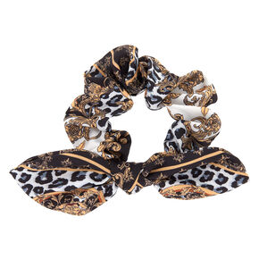 Fancy Leopard Knotted Bow Hair Scrunchie - Black,