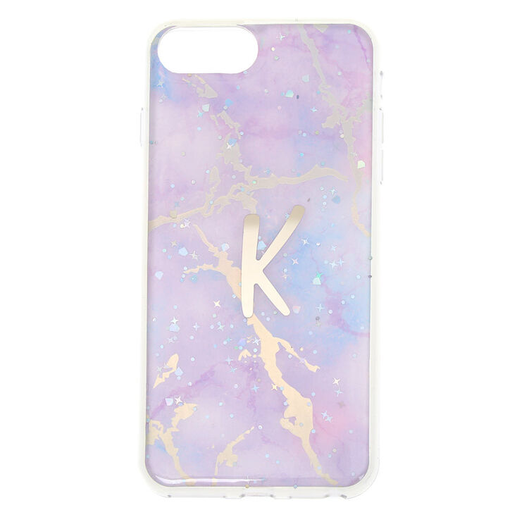 Lilac Marble Glitter Initial Phone Case - K,
