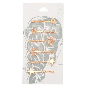 Rose Gold Celestial Hair Pins - 6 Pack,