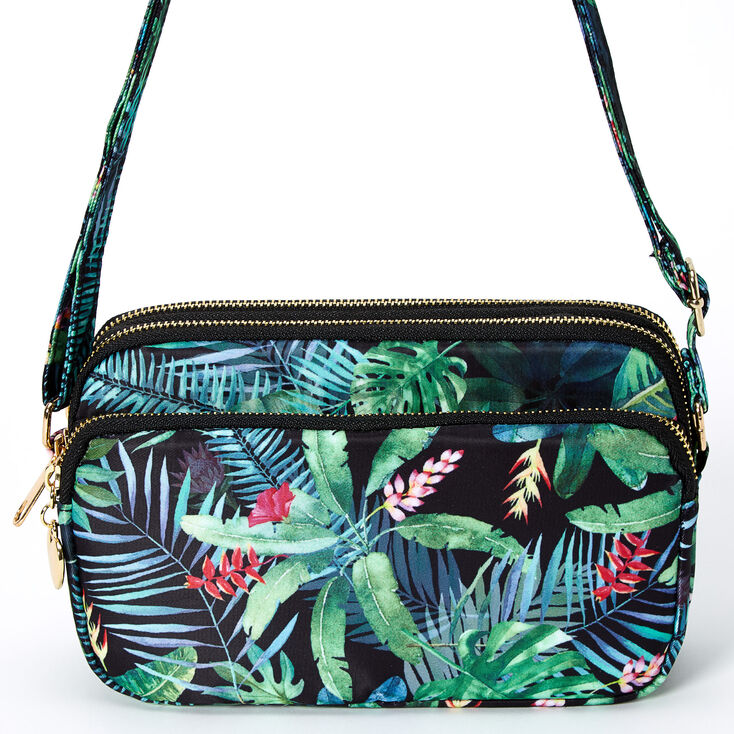Classic Rectangle Tropical Crossbody Bag - Green,