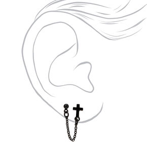 Black Cross Connector Chain Stud Earrings,