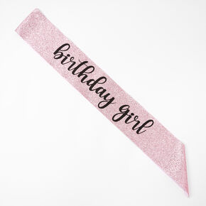 Birthday Girl Glitter Sash - Pink,