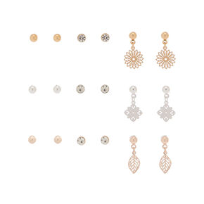 Mixed Metal Filigree Mixed Earrings - 9 Pack,