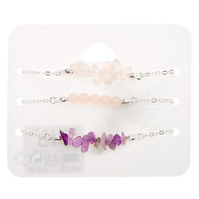 Silver Amethyst Chain Bracelets - Purple, 3 Pack,