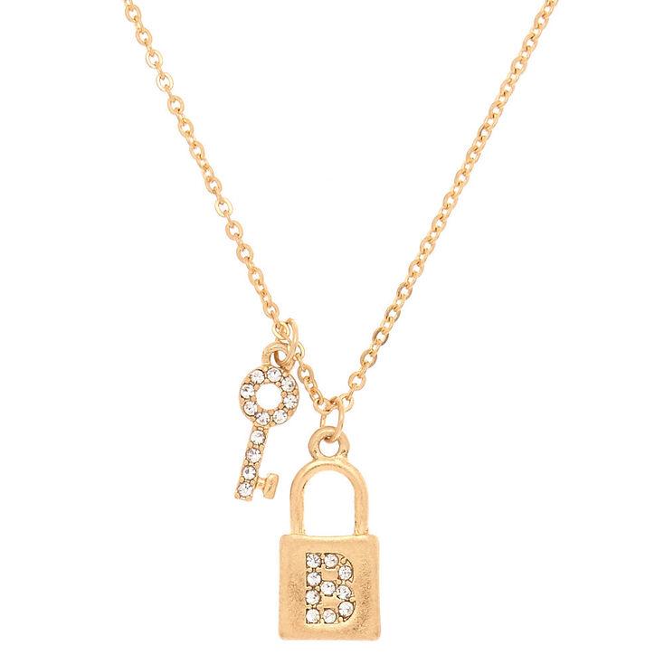 Gold Lock & Key Initial Pendant Necklace - B,