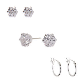 Sterling Silver Cubic Zirconia Stud & Hoop Earrings - 3 Pack,