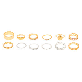 Mixed Metal Chain Rings - 10 Pack,