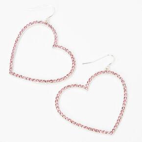 """Silver 2"""" Crystal Open Heart Drop Earrings - Pink,"""