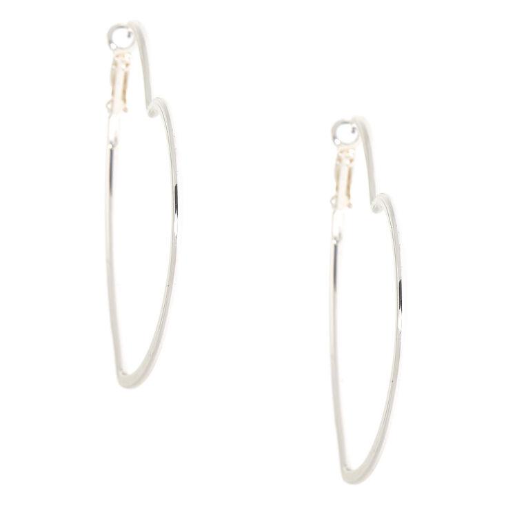 Silver 60MM Heart Hoop Earrings,