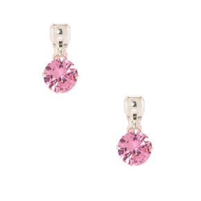 Cubic Zirconia 10MM Clip On Drop Earrings - Pink,