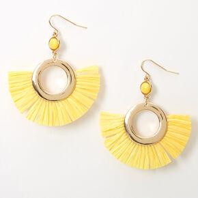 "Gold 2"" Beaded Circle Fan Drop Earrings - Yellow,"