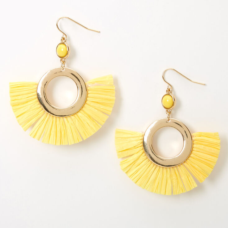 "Gold 2"" Beaded Circle Fan Drop Earrings - Yellow,"