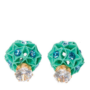 Crystal & Mint Stars Front & Back Stud Earrings,