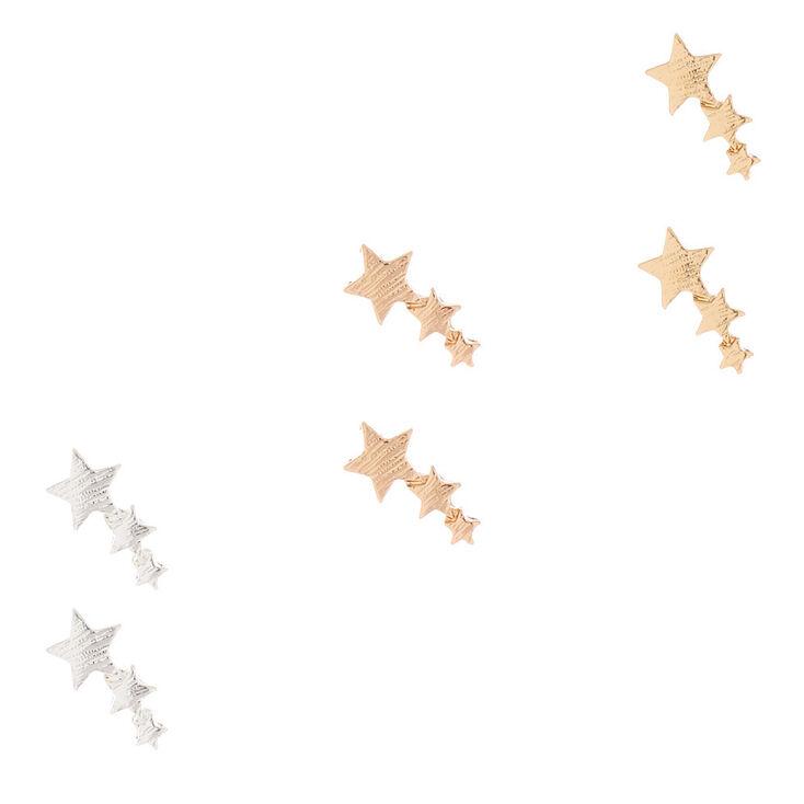 Mixed Metal Shooting Star Stud Earrings - 3 Pack,