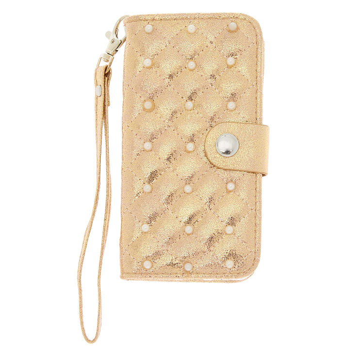 Quilted Faux Pearl Wristlet Folio Phone Case - Fits iPhone 6/7/8 Plus,