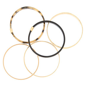 Gold Resin Tortoiseshell Bangle Bracelets - 5 Pack,