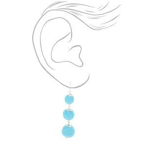 """2.5"""" Ball Drop Earrings - Blue,"""