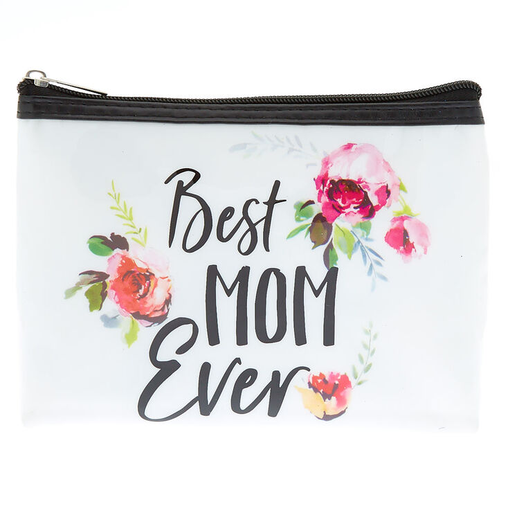 Best Mom Ever Floral Makeup Bag - White,