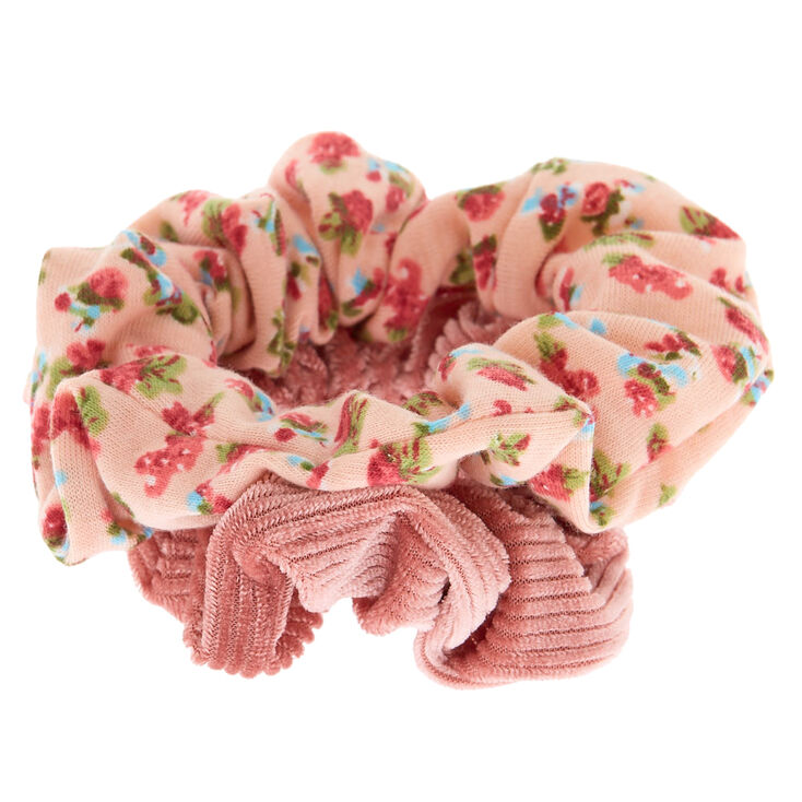 Floral Velvet Hair Scrunchies - Blush Pink, 2 Pack,