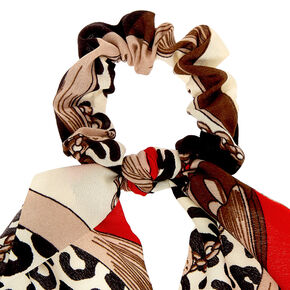 Leopard Chain Scarf Hair Scrunchie - Red,