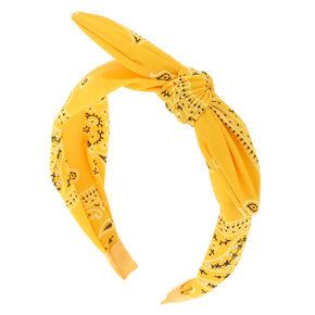 Bandana Knotted Bow Headband - Mustard,