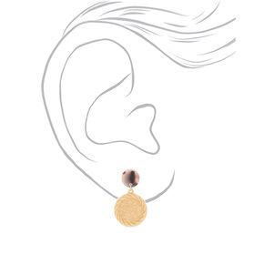"Gold 1.5"" Coin Drop Earrings,"