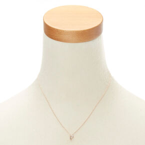 Rose Gold Initial Pendant Necklace - P,